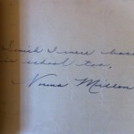 """I wish I were back in school too"" Norma wrote in a signature book during her trial.  Needham Historical Society."